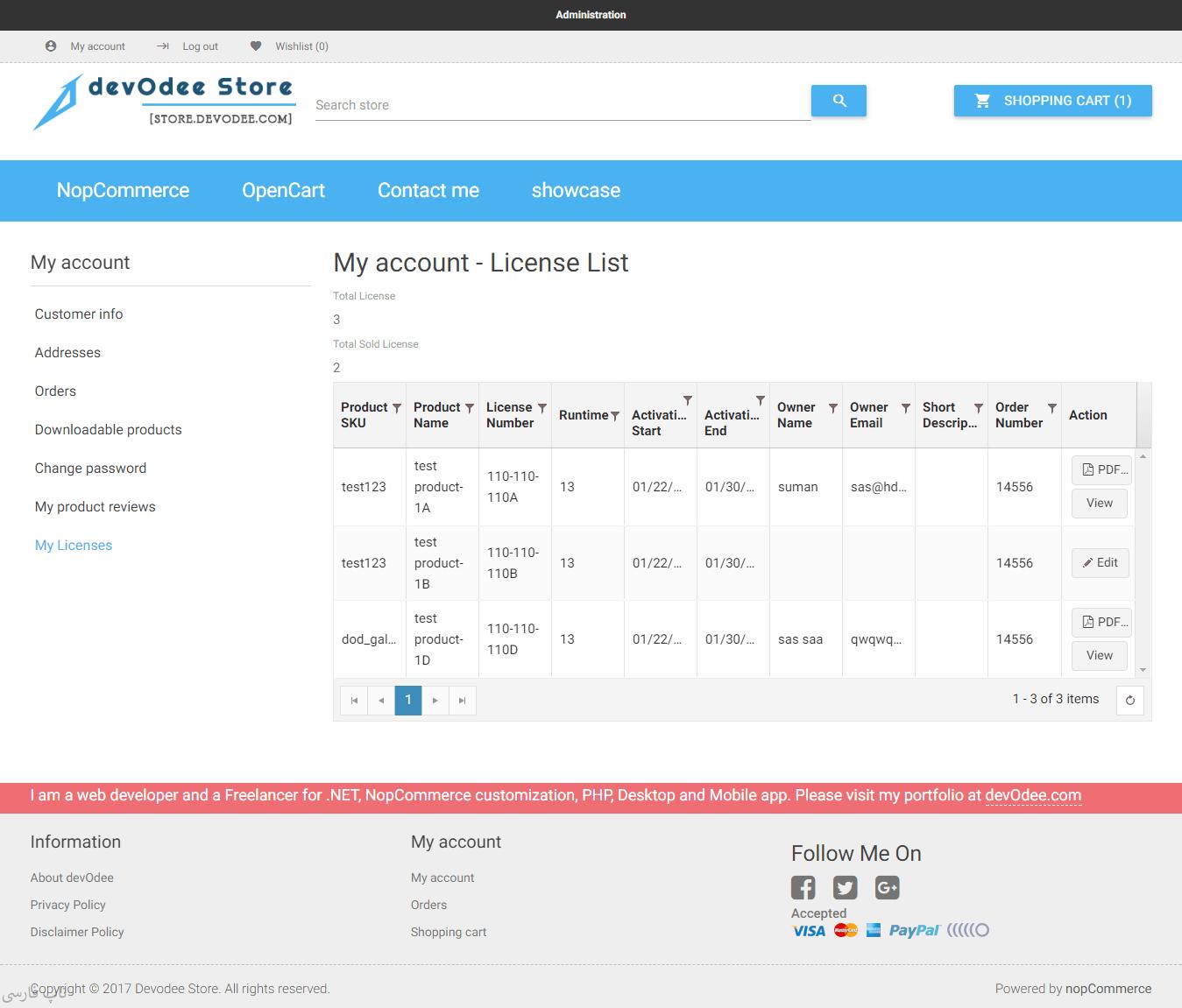افزونه مدیریت لایسنسهای دیجیتالی - لیست لایسنسهای مشتری