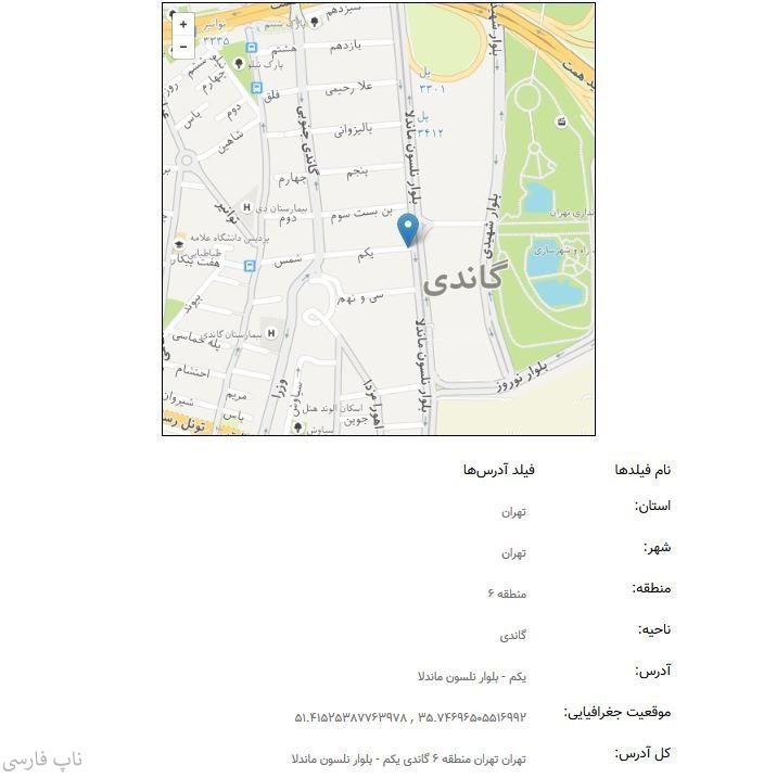 افزونه ورود آدرس با استفاده از نقشه - فیلدهای آدرس