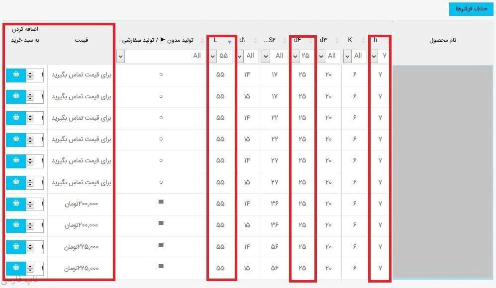 افزونه نمایش و مقایسه ویژگی محصولات به صورت جدول - جدول با فیلتر