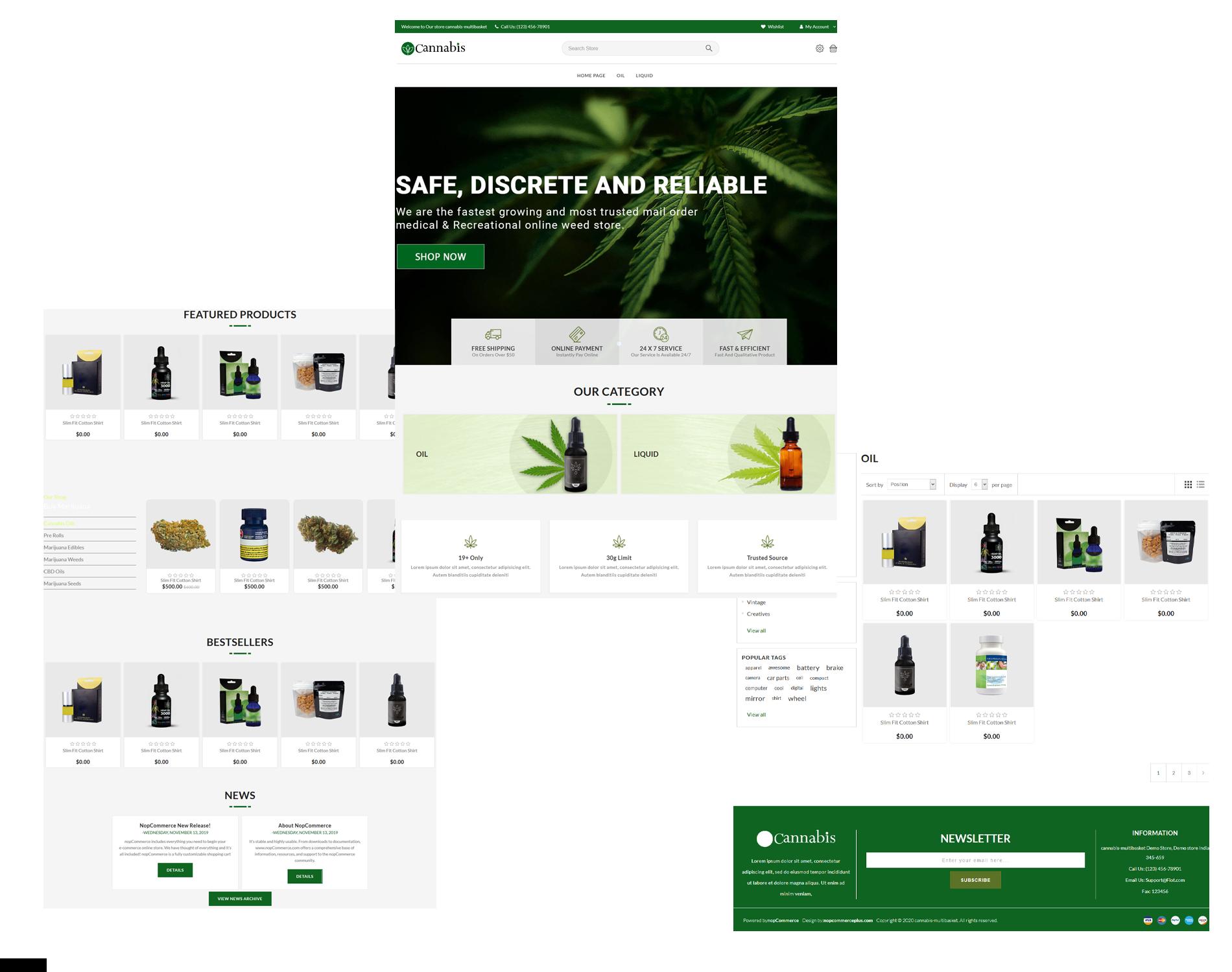 قالب فروشگاهی Cannabis ناپکامرس - نمونه