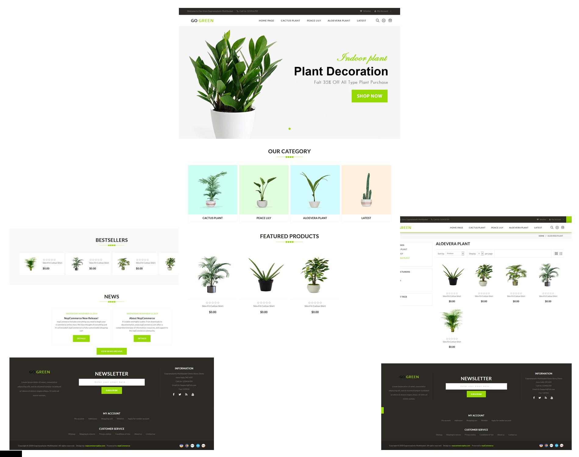قالب فروشگاهی Go Green Plants ناپکامرس - نمونه