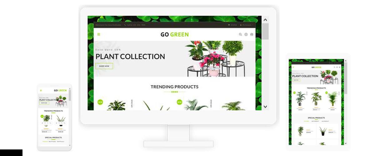قالب فروشگاهی Go Green Plants ناپکامرس - پاسخگرا