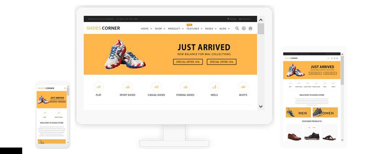 قالب فروشگاهی Shoes Corner ناپکامرس - پاسخگرا